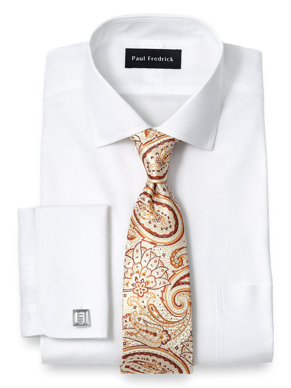 Non-Iron Cotton Pinpoint Solid Color Spread Collar French Cuff Dress Shirt