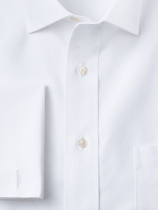 Non-Iron Cotton Solid Color Twill Spread Collar French Cuff Dress Shirt