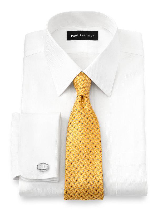 Non-Iron Cotton Solid Color Herringbone Straight Collar French Cuff Dress Shirt
