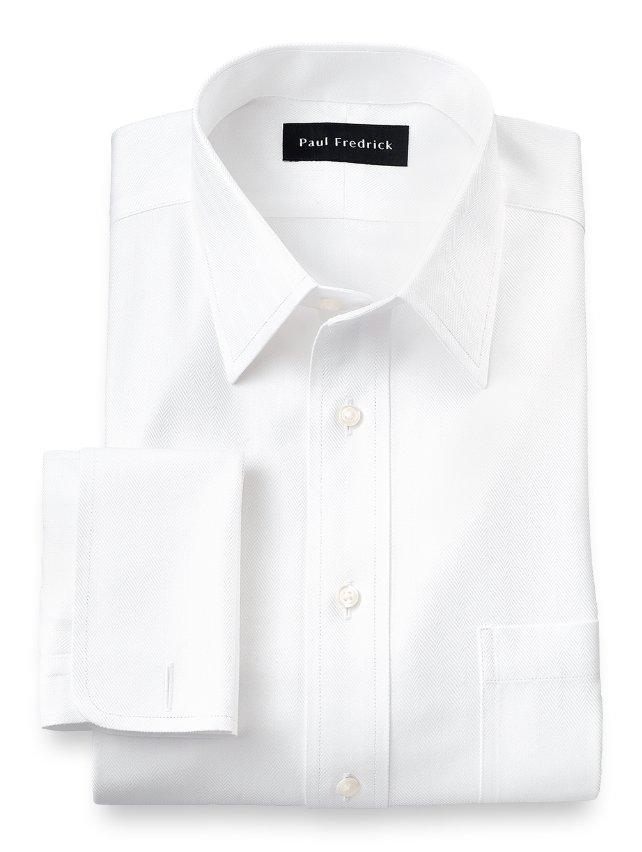 Non-Iron Cotton Herringbone Straight Collar French Cuff Dress Shirt