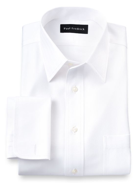 Non-Iron Cotton Solid Color Herringbone Straight Collar French Cuff Dress Shirt
