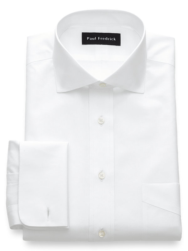 Non-Iron Cotton Broadcloth Cutaway Spread Collar French Cuff Dress Shirt