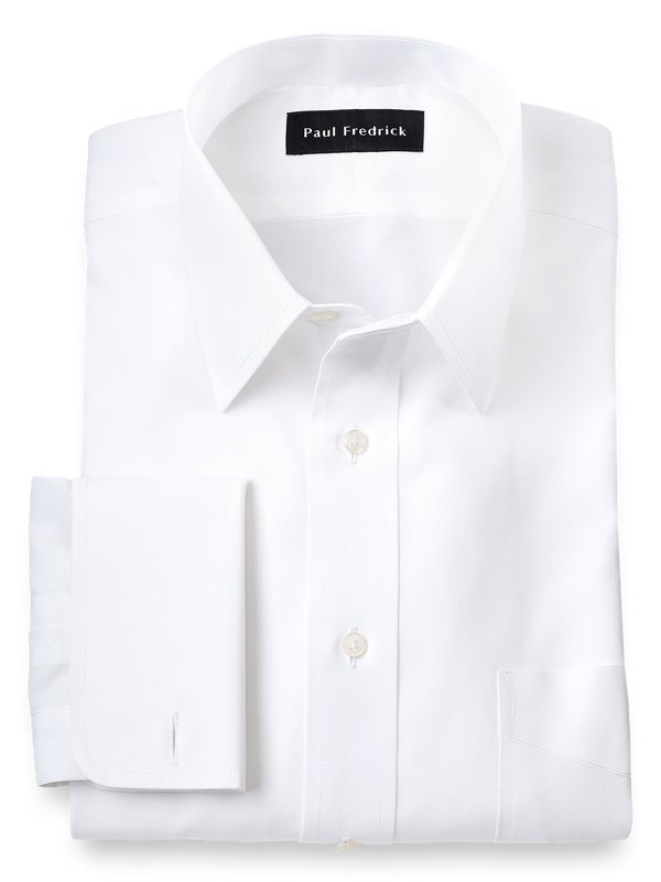 Supima Non-Iron Cotton Solid Color Straight Collar French Cuff Dress Shirt