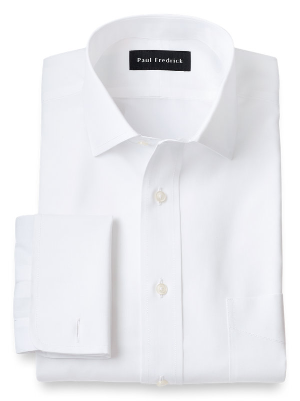 Supima Non-Iron Cotton Solid Color Spread Collar French Cuff Dress Shirt