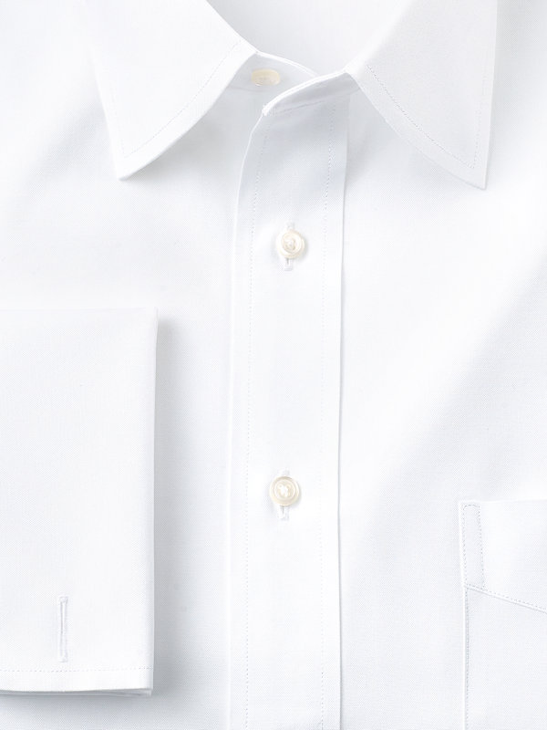 Pure Cotton Pinpoint Solid Color Varsity Spread Collar French Cuff Dress Shirt