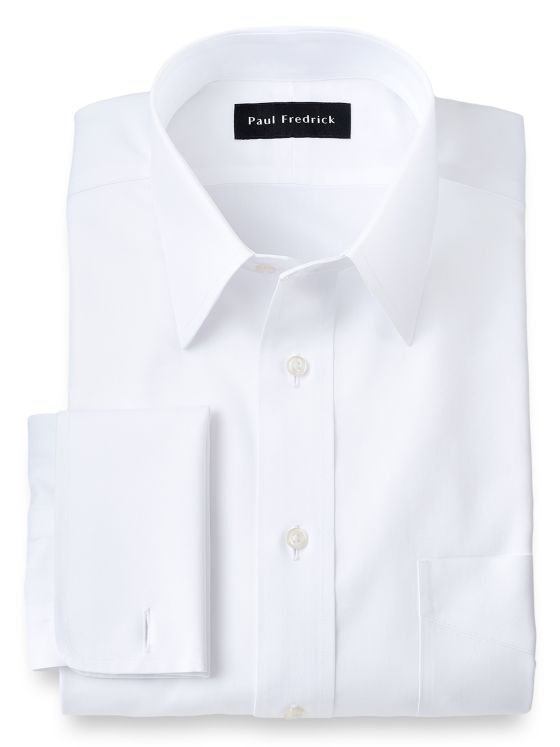 Impeccable Non-Iron Cotton Pinpoint Straight Collar French Cuff Dress Shirt