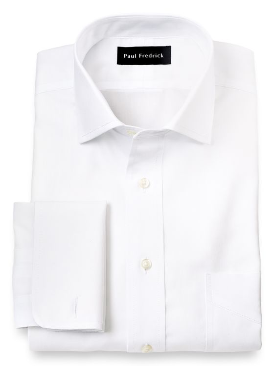 Impeccable Non-Iron Cotton Pinpoint Spread Collar French Cuff Dress Shirt