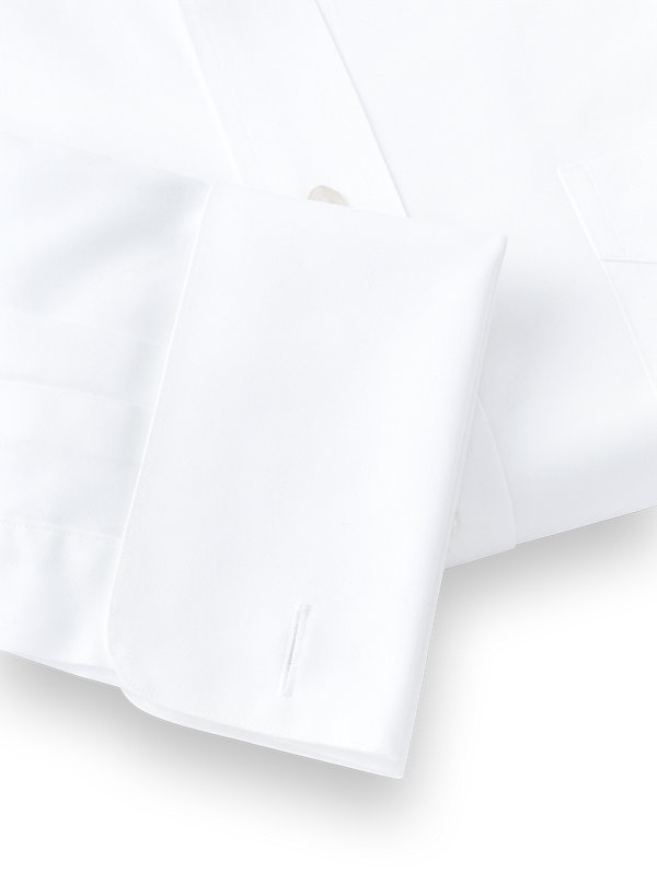 Pure Cotton Pinpoint Edge-Stitched Straight Collar French Cuff Dress Shirt