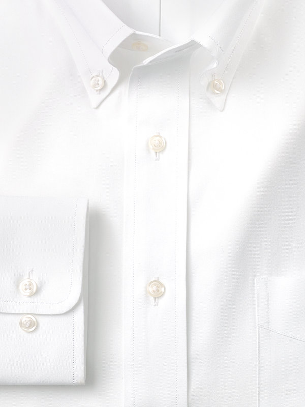 Slim Fit Pure Cotton Pinpoint Solid Color Button Down Collar Dress Shirt