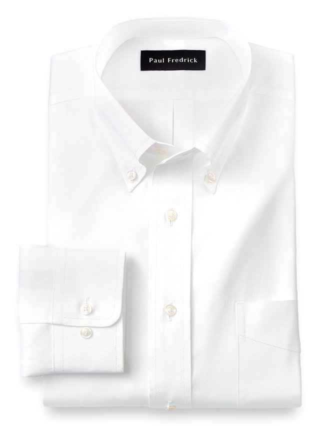 Slim Fit Cotton Pinpoint Oxford Button Down Collar Dress Shirt