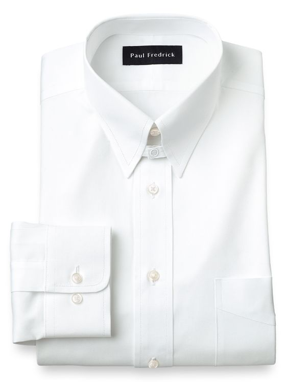 Slim Fit Pure Cotton Pinpoint Solid Color Snap Tab Collar Dress Shirt