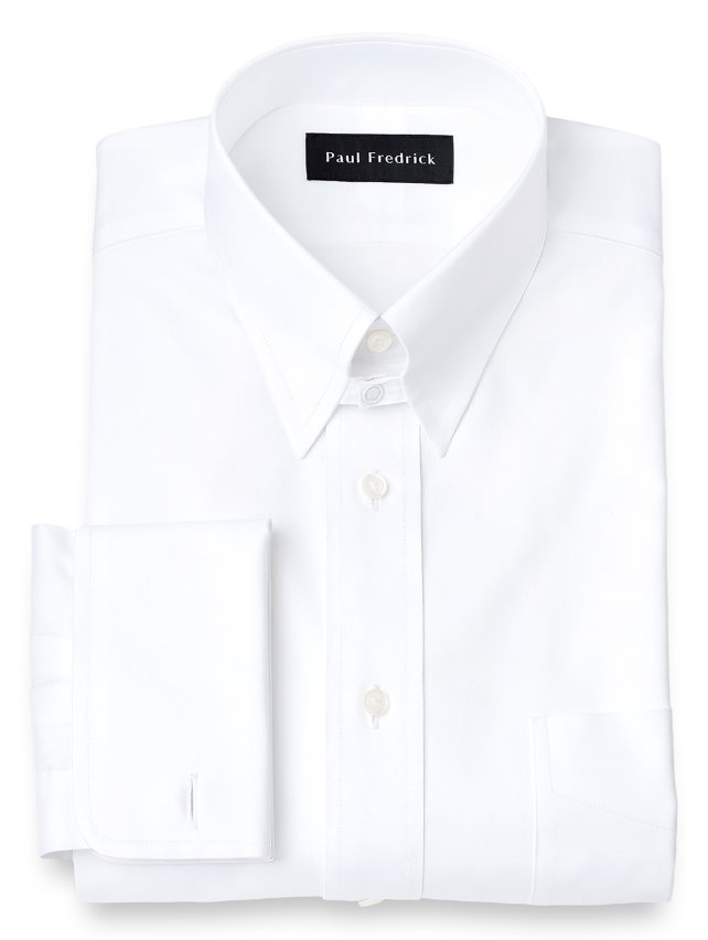 Slim Fit Cotton Pinpoint Oxford Snap Tab Collar French Cuff Dress Shirt