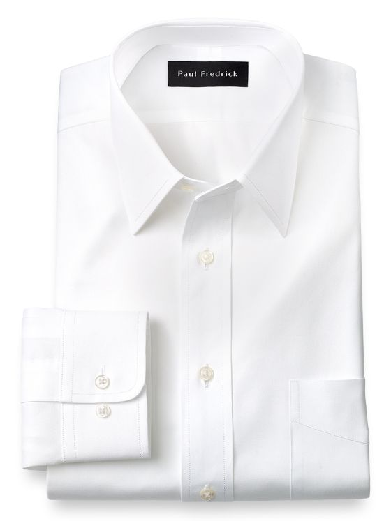 Slim Fit Pure Cotton Pinpoint Solid Color Straight Collar Dress Shirt
