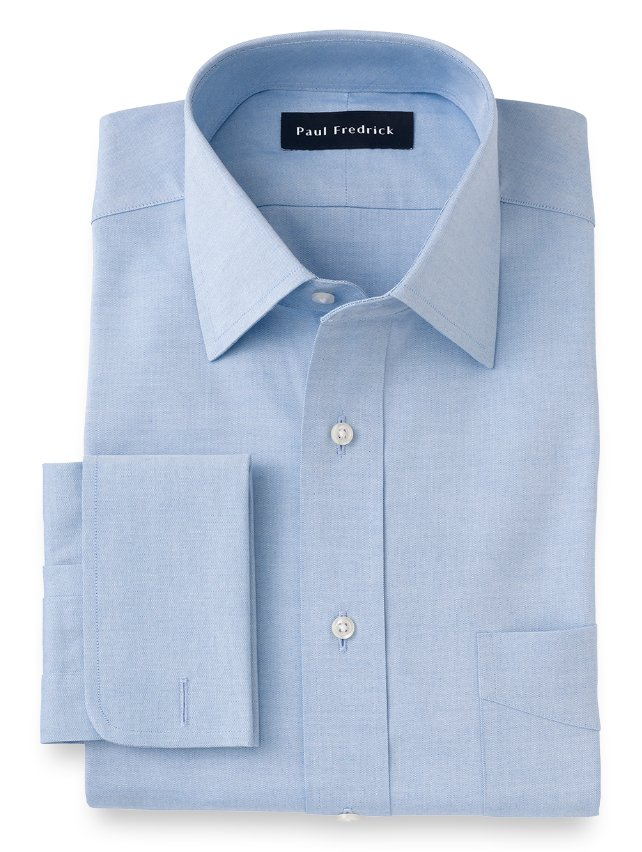 Slim Fit Cotton Pinpoint Oxford Spread Collar French Cuff Dress Shirt