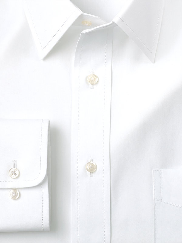 Slim Fit Pure Cotton Broadcloth Solid Color Straight Collar Dress Shirt