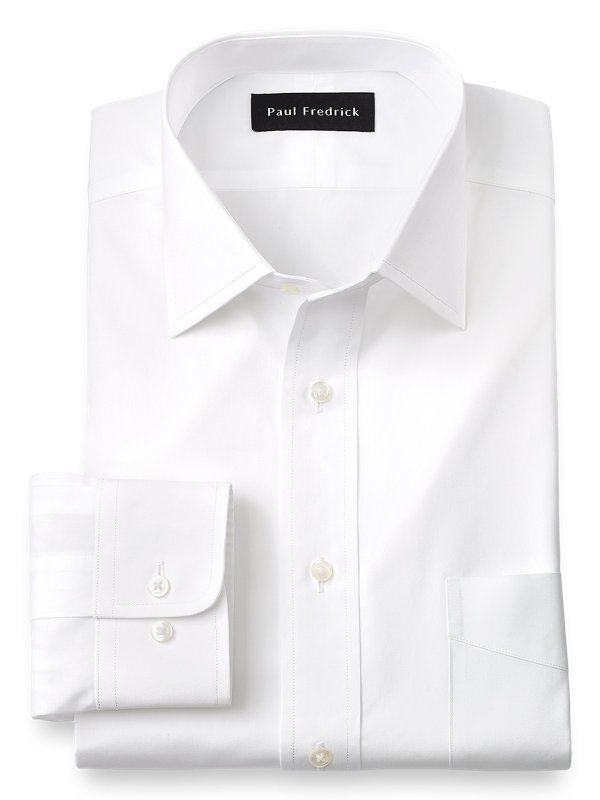 Slim Fit Pure Cotton Broadcloth Solid Color Spread Collar Dress Shirt