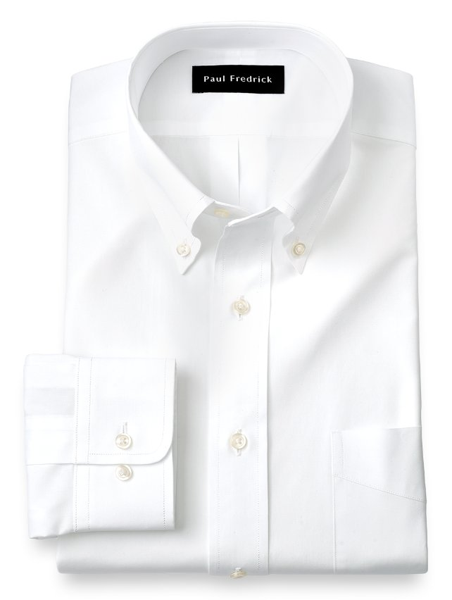 Slim Fit Cotton Broadcloth Button Down Collar Dress Shirt