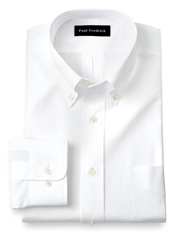 Slim Fit Pure Cotton Broadcloth Solid Color Button Down Collar Dress Shirt