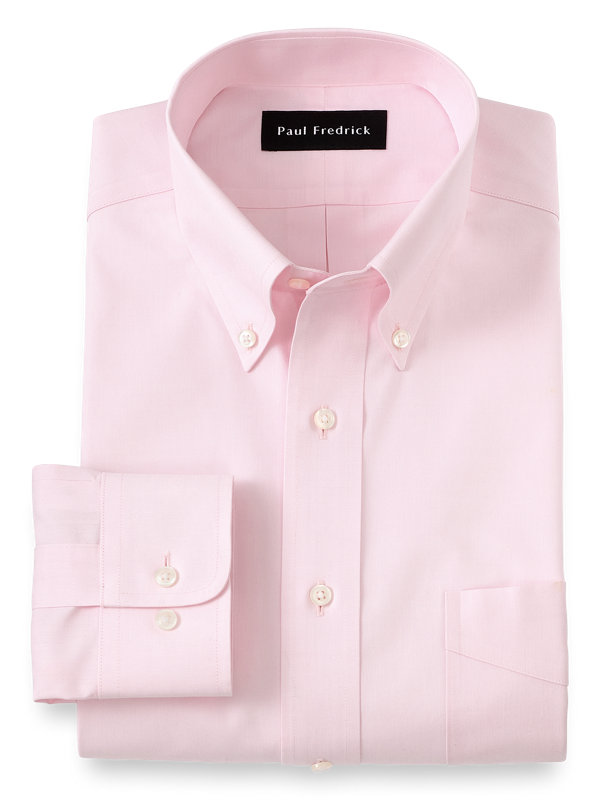 Slim Fit Non-Iron Cotton Pinpoint Solid Color Button Down Collar Dress Shirt