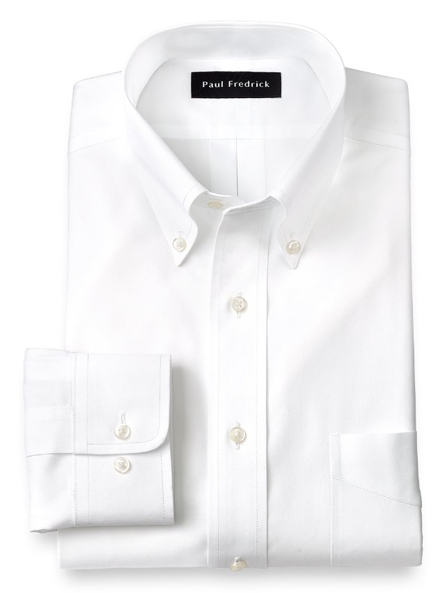 Slim Fit Non-Iron Cotton Pinpoint Button Down Collar Dress Shirt