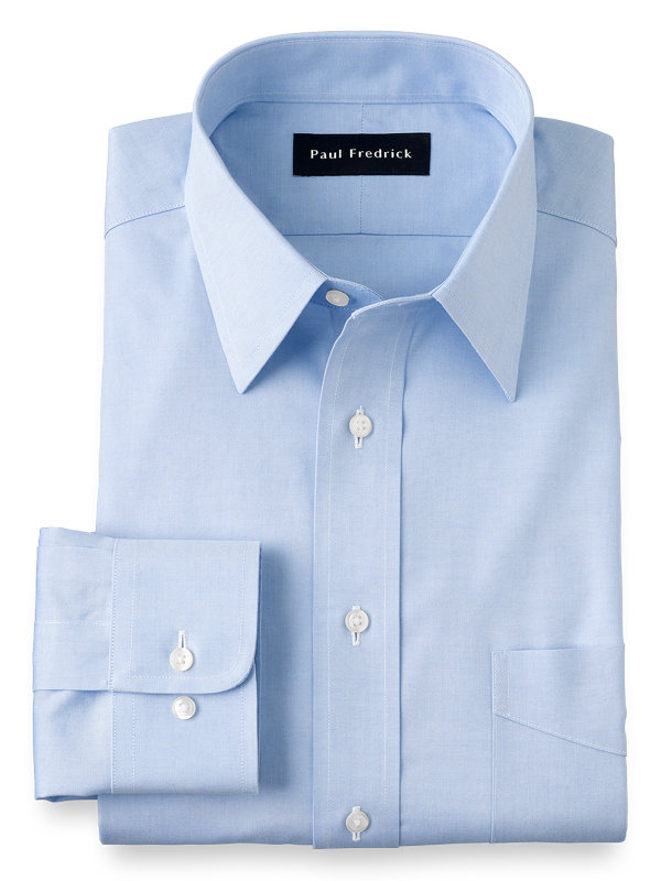 Slim Fit Non-Iron Cotton Pinpoint Solid Color Straight Collar Dress Shirt