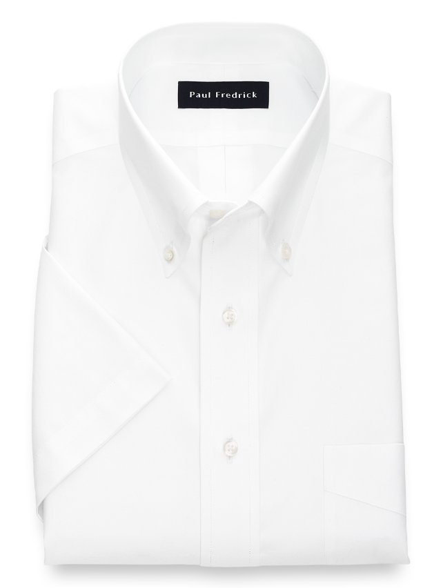 Slim Fit Non-Iron Cotton Pinpoint Button Down Collar Short Sleeve Dress Shirt