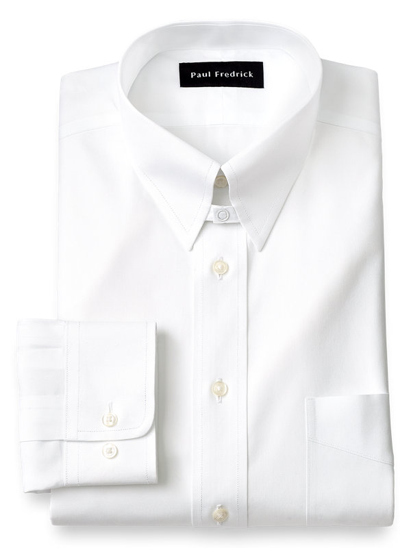 Slim Fit Non-Iron Cotton Pinpoint Solid Color Tab Collar Dress Shirt