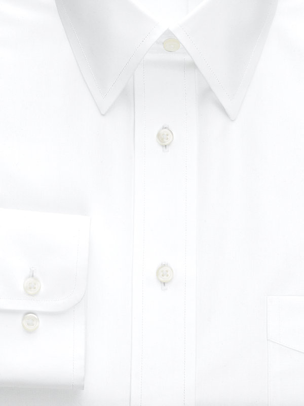 Slim Fit Non-Iron Cotton Broadcloth Solid Color Straight Collar Dress Shirt