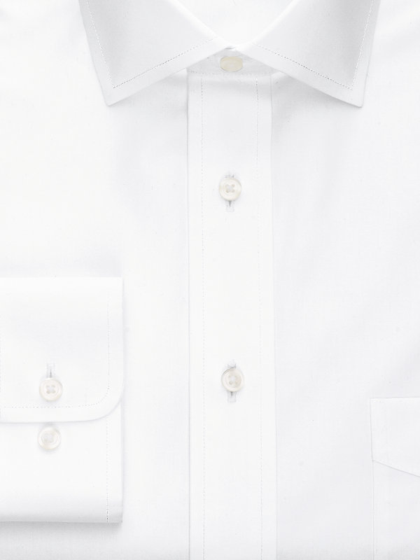 Slim Fit Non-Iron Cotton Broadcloth Solid Color Spread Collar Dress Shirt
