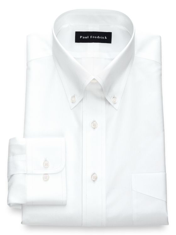 Slim Fit Non-Iron Cotton Broadcloth Solid Color Button Down Collar Dress Shirt