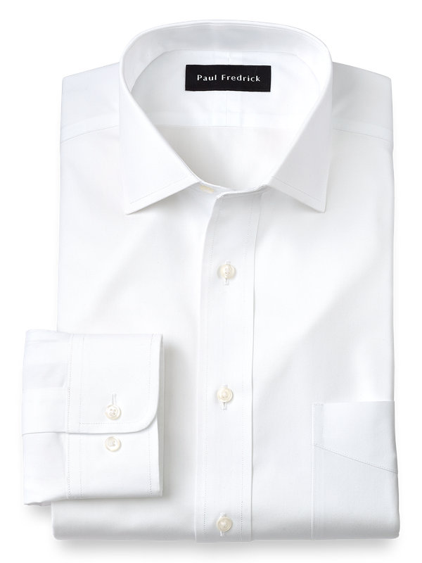 Slim Fit Non-Iron Cotton Pinpoint Solid Color Spread Collar Dress Shirt