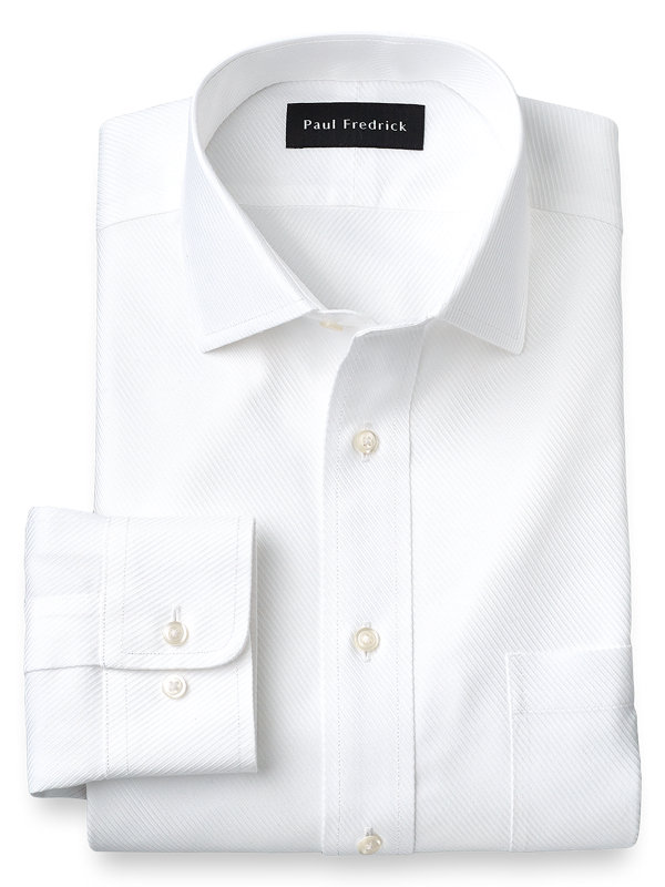 Slim Fit Non-Iron Cotton Solid Color Twill Spread Collar Dress Shirt