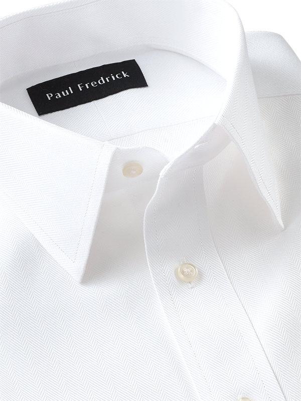 Slim Fit Non-Iron Cotton Solid Color Herringbone Straight Collar Dress Shirt