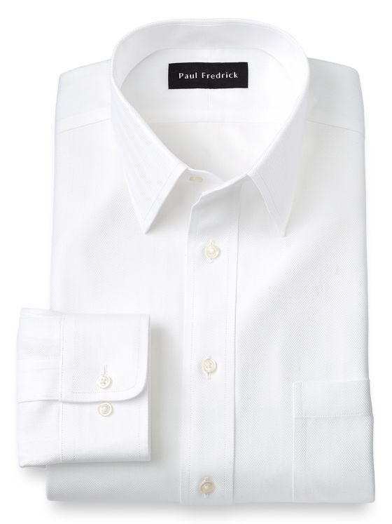Slim Fit Non-Iron Cotton Solid Color Herringbone Straight Collar Dress Shirt
