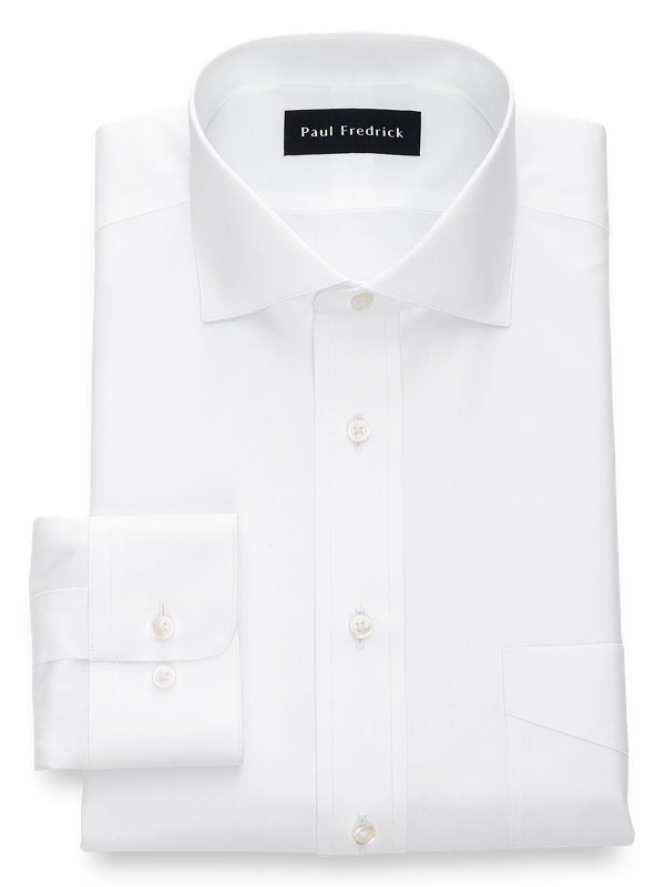 Slim Fit Non-Iron Cotton Broadcloth Cutaway Spread Collar Dress Shirt