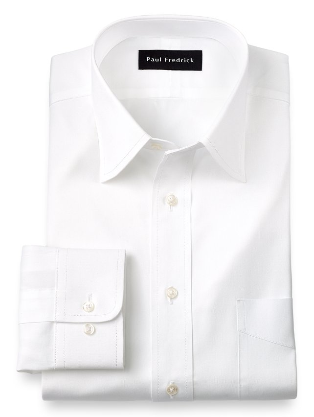Slim Fit Cotton Pinpoint Oxford Varsity Spread Collar Dress Shirt