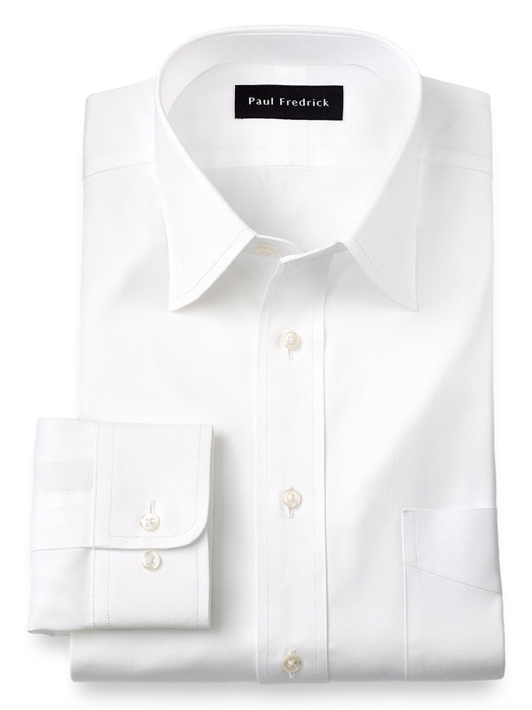 Slim Fit Pure Cotton Pinpoint Solid Color Varsity Spread Collar Dress Shirt