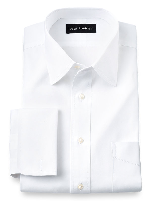 Slim Fit Pure Cotton Pinpoint Varsity Spread Collar French Cuff Dress Shirt