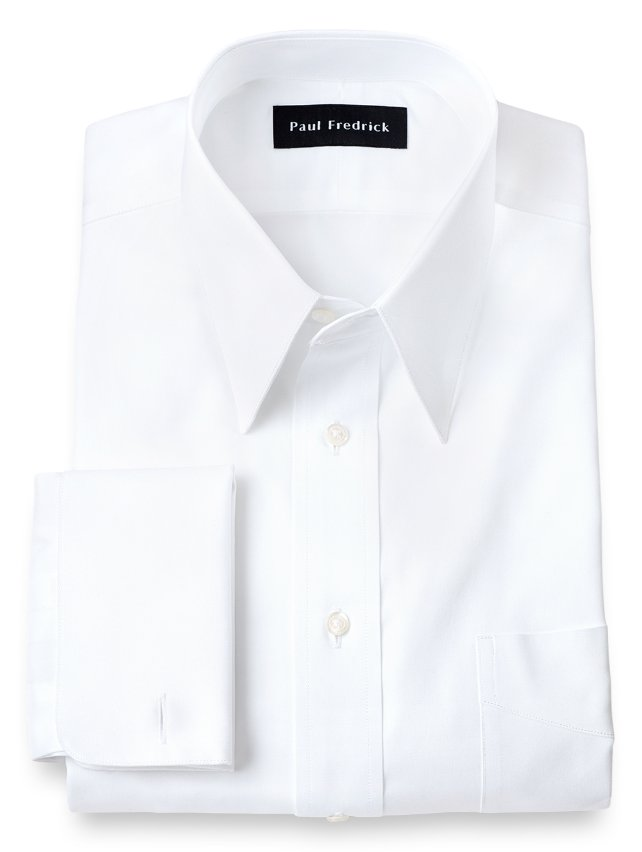 Slim Fit Cotton Pinpoint Edge Stitched Straight Collar French Cuff Dress Shirt
