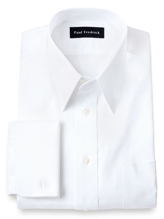 Slim Fit Pure Cotton Pinpoint Edge-Stitched Straight Collar Dress Shirt