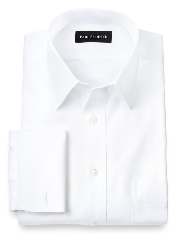 Slim Fit Non-Iron Cotton Pinpoint Straight Collar French Cuff Dress Shirt
