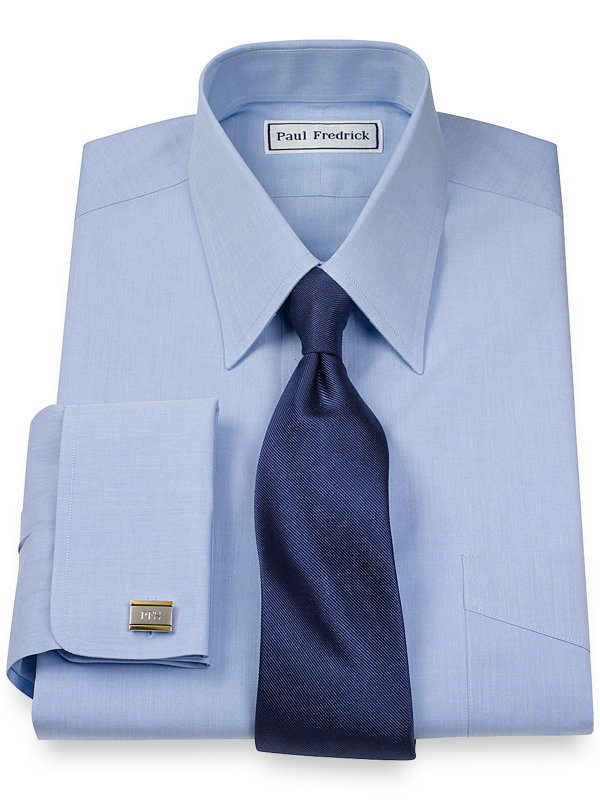 Slim Fit Non-Iron Cotton Broadcloth Straight Collar French Cuff Dress Shirt