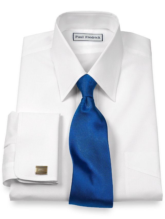 Slim Fit Non-Iron Cotton Broadcloth Straight Collar Dress Shirt