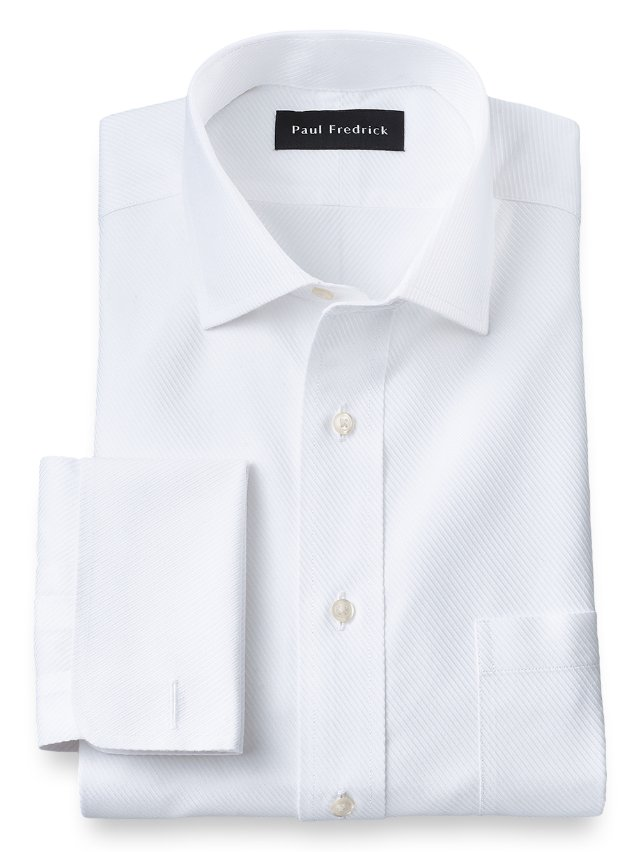 Slim Fit Non-Iron Cotton Twill Spread Collar French Cuff Dress Shirt
