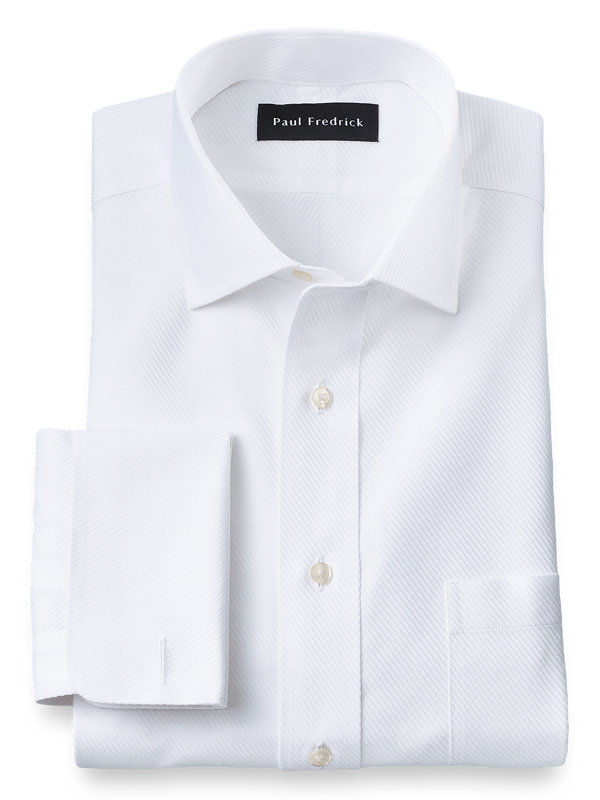 Slim Fit Non-Iron Cotton Solid Color Twill Spread Collar French Cuff Dress Shirt