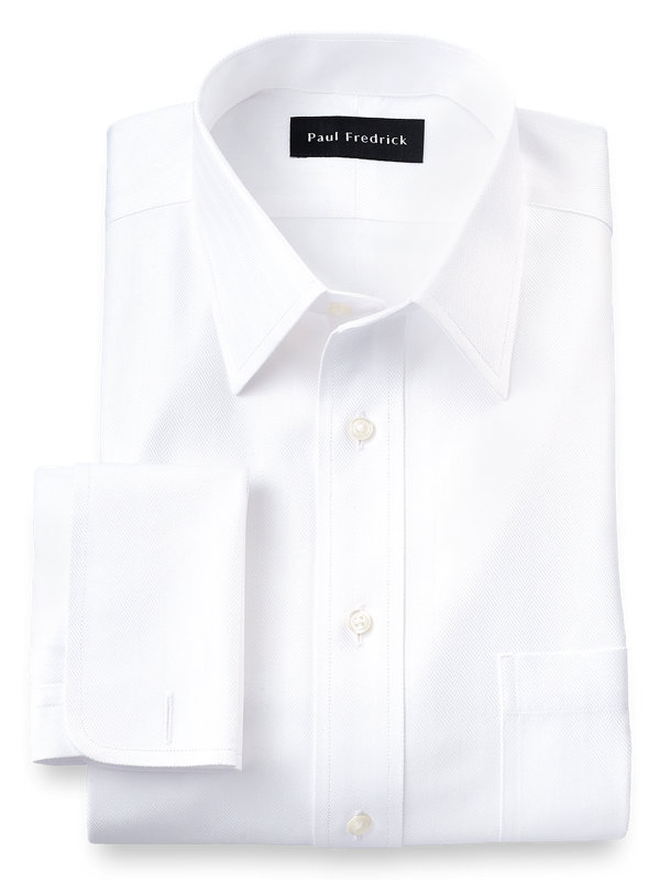 Slim Fit Non-Iron Herringbone Straight Collar French Cuff Dress Shirt