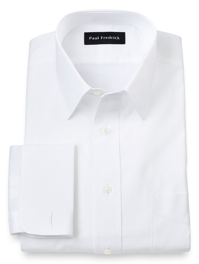 Slim Fit Cotton Broadcloth Straight Collar French Cuff Dress Shirt