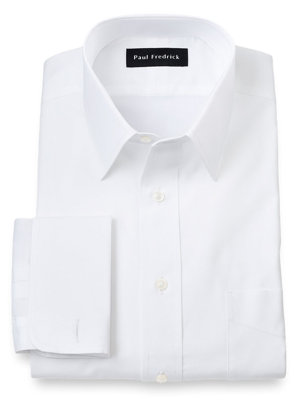 Slim Fit Pure Cotton Broadcloth Straight Collar French Cuff Dress Shirt
