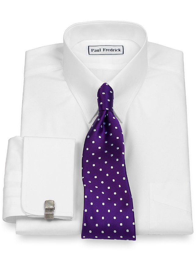 Slim Fit Cotton Broadcloth Snap Tab Collar French Cuff Dress Shirt