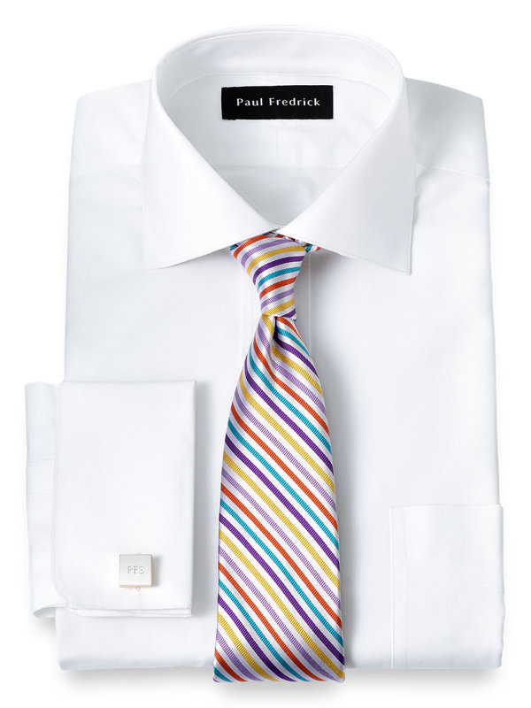 Slim Fit Pure Cotton Broadcloth Spread Collar French Cuff Dress Shirt